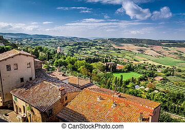 vue, de, les, vendange, ville, dans, toscane, italie