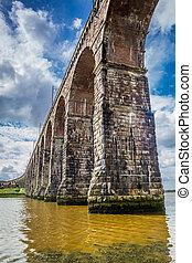 vue, de, les, vieux pont, dans, berwick-upon-tweed
