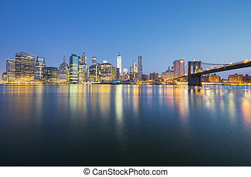vue, de, new york, manhattan, midtown, à, crépuscule