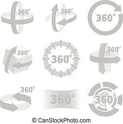 vue, degrés, 360, signe