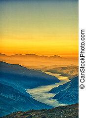 vue, depuis, kalinchok, photeng, vers, les, katmandou, vallée