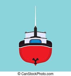 vue, dessin animé, vaisseau, pétrolier, marin, plat, bateau, peche, dos, eau, isolated., transport, mer, mer, vecteur, bateau, commercial, icon., nautisme