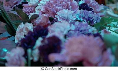 vue dessus, bouquet, table, arrangement, fleur, wedding.,...