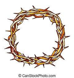 vue dessus, christ, couronne, épines, jésus, couleur, vecteur