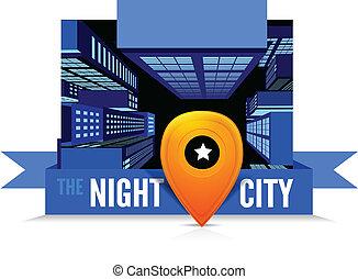 vue dessus, city., nuit