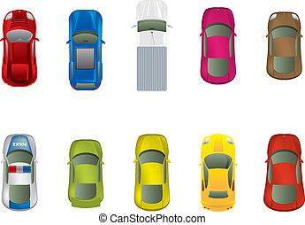 vue dessus, différent, automobiles