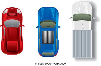 vue dessus, différent, automobiles, ensemble