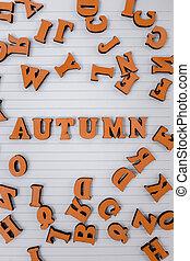 vue dessus, dispersé, cahier, locution, bois, automne, blanc, lettres