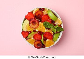 vue dessus, fond, bol, rose, salade fruits, frais