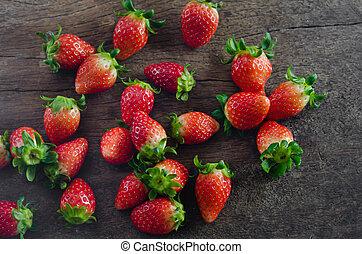 vue dessus, fraises