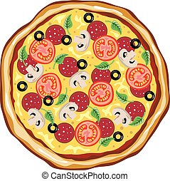 vue dessus, grand, pizza
