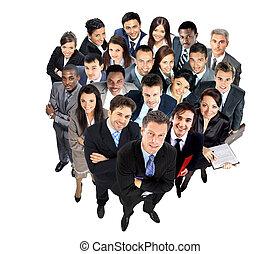 vue dessus, groupe, professionnels