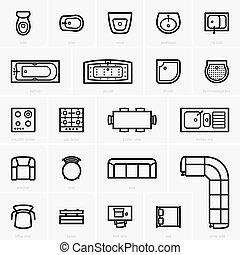 vue dessus, meubles, icônes