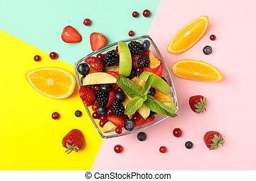 vue dessus, multicolore, fond, bol, salade fruits, frais