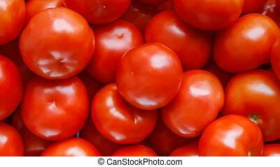 vue dessus, rouges, arrière-plan., rotation, tomates