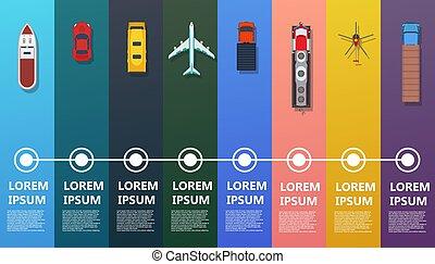 vue dessus, route, vector., plat, trafic, avion, ensemble, information, voyage, logistique, voiture., map., marchandises, icône, autobus, hélicoptère, transport, business, fret, cargaison, delivery., camion, commercial, bateau, train, industrie, infographic