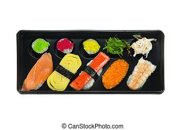 vue dessus, sushi