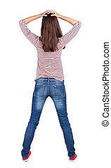 vue, dos, choqué, femme, bleu, jeans.