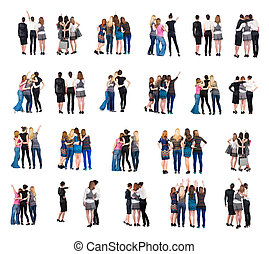 """vue, dos, groupe, people"""", collection, """""""