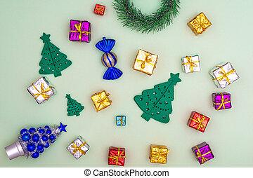 vue, emballé, fond, boîtes, sommet vert, présente, noël, ornements, concept, arbre, décor, cadeau, plat, poser