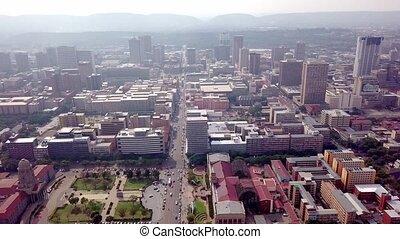 vue, en ville, pretoria, ville, aérien, capital, afrique,...