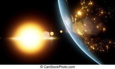 vue, espace, la terre, planète, surprenant, earth., levers de soleil, sur