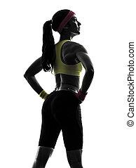 vue, exercisme, silhouette, séance entraînement, femme, fitness, debout, arrière