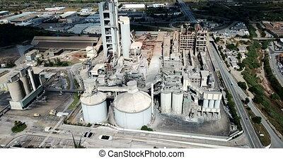 vue, factory., ciment, aérien