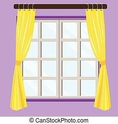 vue, fenêtre, maison