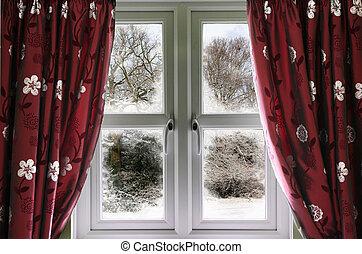 vue fenêtre, scène, neige