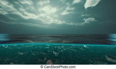 vue, fente, antilles, eau, mer, nuages, sur