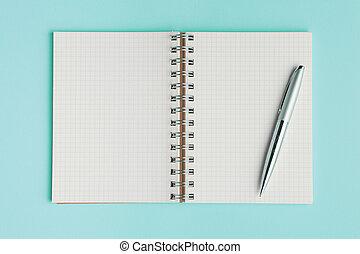 vue, fond, école, cyan, cahier, couleur, sommet