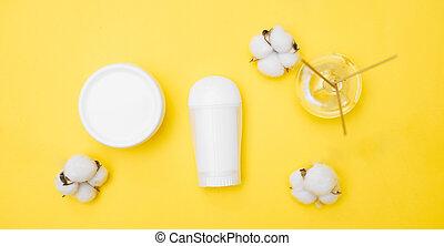 vue, fond, blanc, personnel, pots, sommet, hygiène, produit, espace, jaune, copie