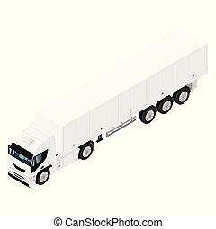 vue, fond, cargaison, isométrique, isolé, semi, blanc, transport, camion caravane