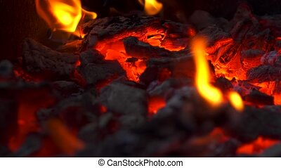 vue, fond, grand plan, charbons, charbon de bois, incandescent, brûlé, brûler