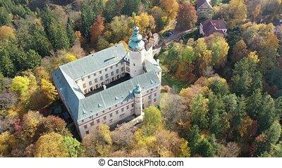 vue, forêt, montagnes, village, automne, château, tchèque, lusatian, aérien, lemberk, lvova