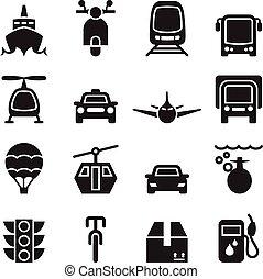 vue frontale, de, véhicule, &, transport, icône, ensemble