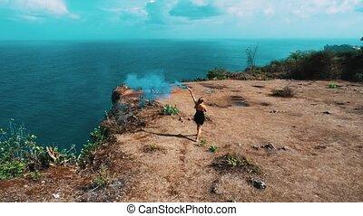 vue, girl, fumée, aérien, falaise, coloré