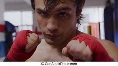 vue, gymnase, boxe, caucasien, homme, devant