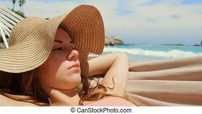 vue, hamac, délassant, caucasien, plage, femme, devant, 4k