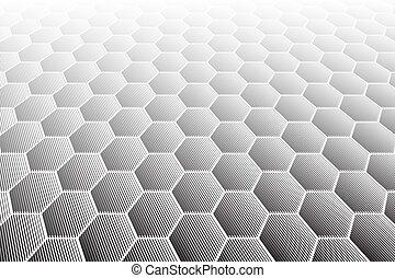 vue., hexagones, carrelé, textured, perspective, surface.