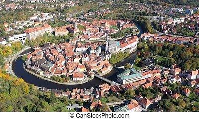 vue, historique, riverbank, jour, automne, ville, vltava, tchèque, négligence, aérien, cesky, moyen-âge, centre, château, république, krumlov