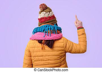 vue, homme, chapeaux, regard, plusieurs, scarf., dos, info.,...