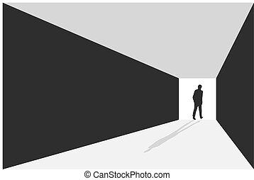 vue., hommes affaires, long, marche, éclairé, illustration, sentier, vecteur, perspective