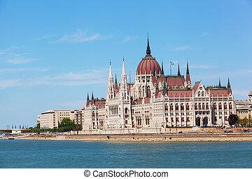 vue, hongrois, parlement, bâtiment