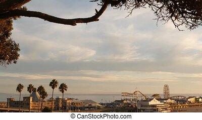 vue, iconique, ca, plage, amusement, usa., angeles, jetée, ...