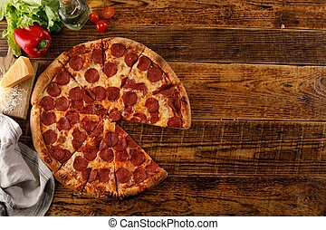 vue., ingredients., copie, pepperoni, encore, pizza, bois, table., vie, space., sommet