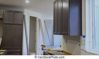 vue, installed, nouvelle maison, amélioration, remodeler, cuisine