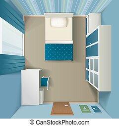 vue, intérieur, réaliste, sommet, moderne, chambre à coucher