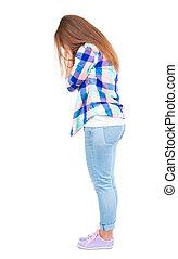 vue, jacket., dos, jean, choqué, femme, bleu